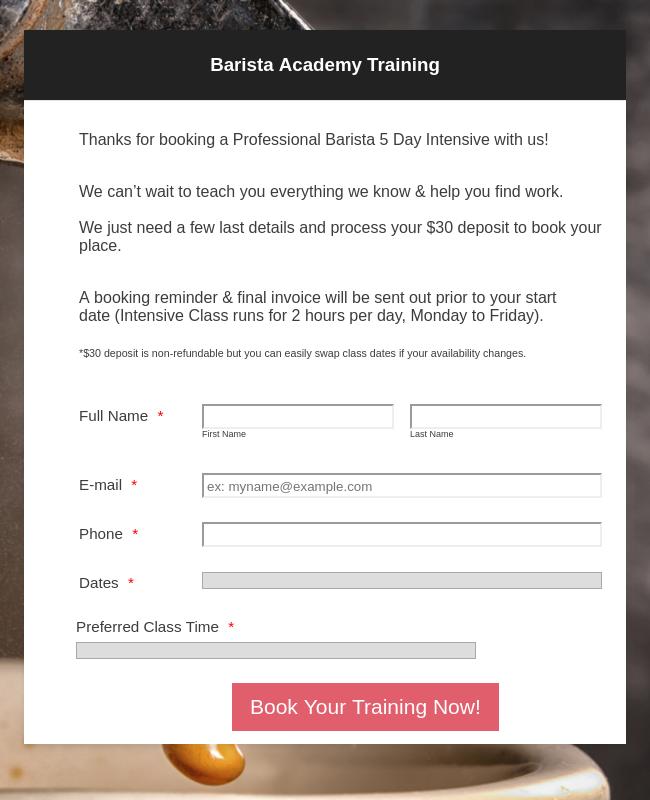 Barista Academy Training - 5 Day Course