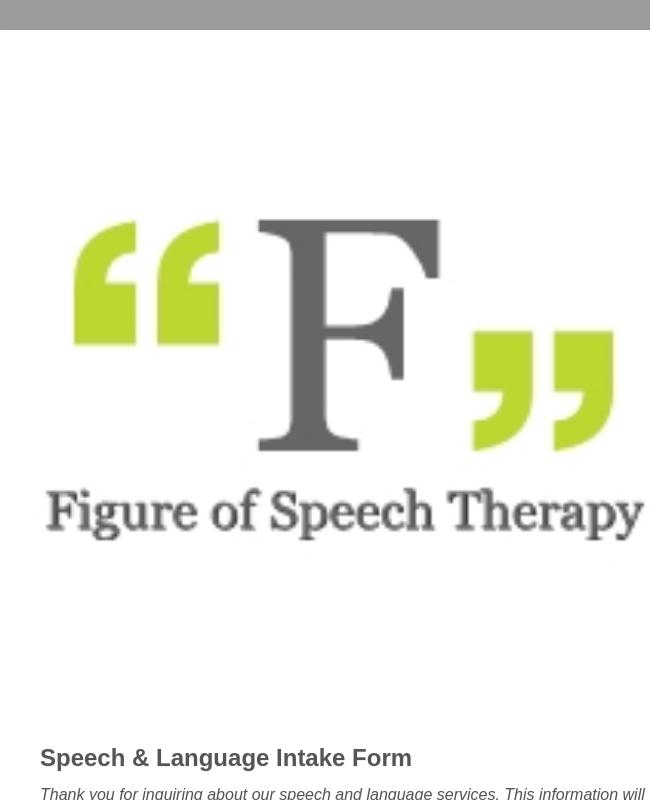 Speech Language Intake Form