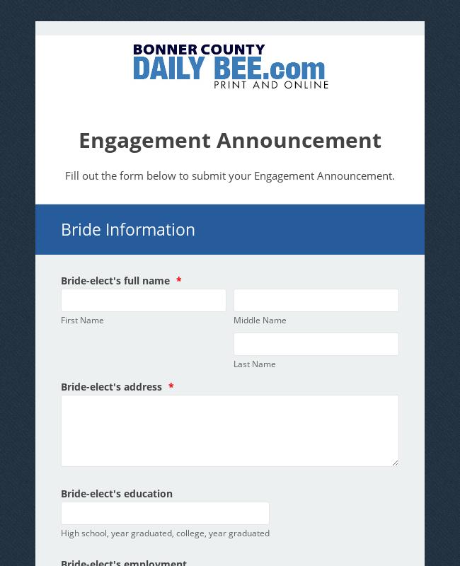 Hagadone Newspaper Engagement Announcement Form