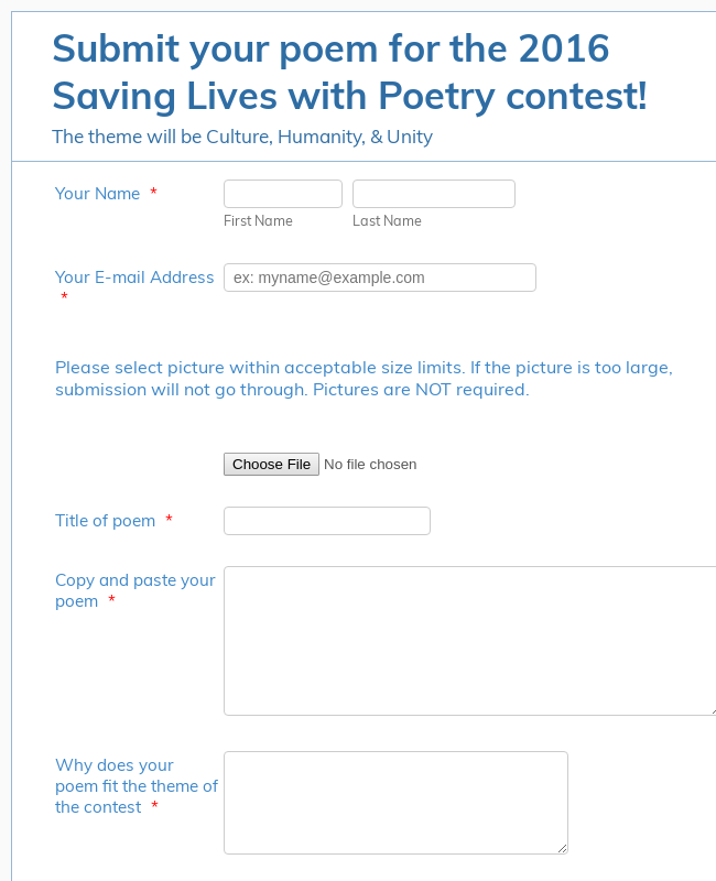 Poetry Contest Registration Form