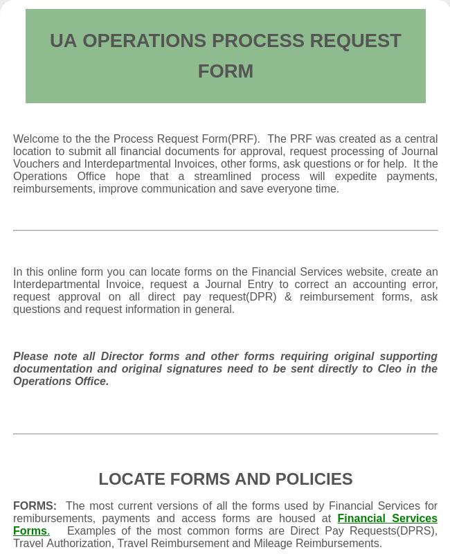 Process Request Form-UNCC UA