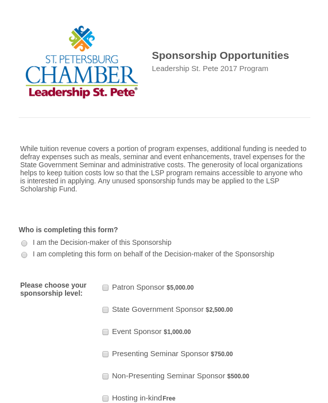 Leadership St. Pete 2017 Sponsorship Form