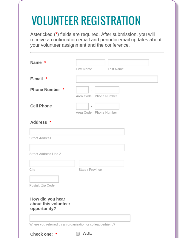 Volunteer Registration - Detailed