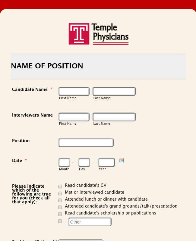 TPI Interview Evaluation Form