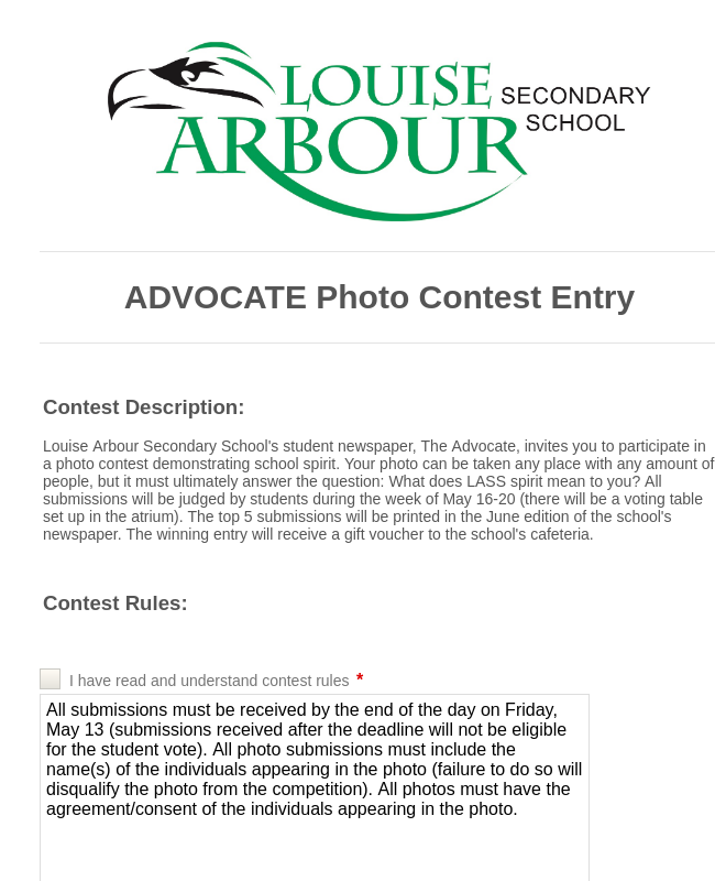 Student Photo Contest Entry Form