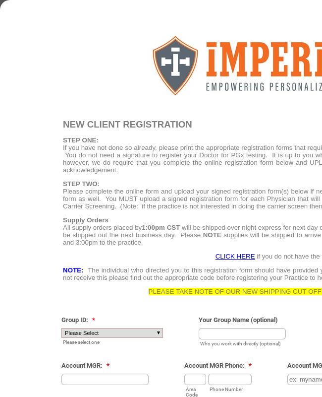 IMP Registration Form - Tox, Blood, PGX