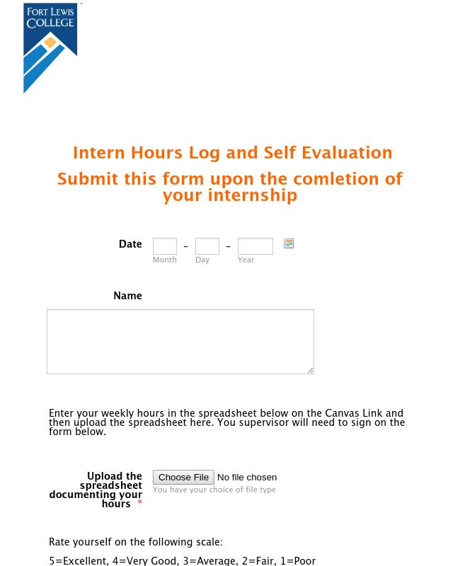 Intern Self Evaluation Form