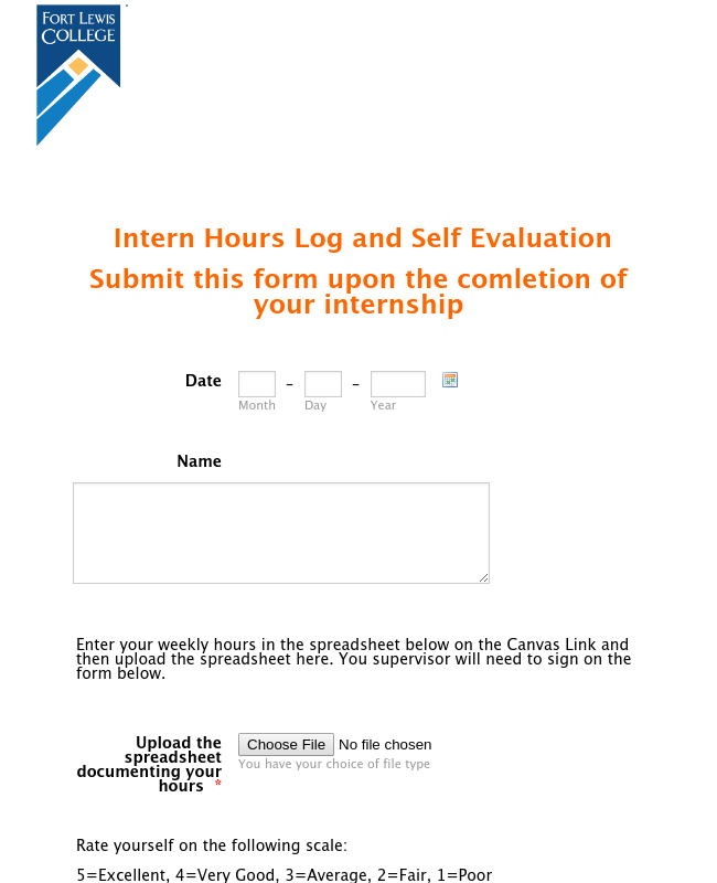 Intern Self Evaluation Form