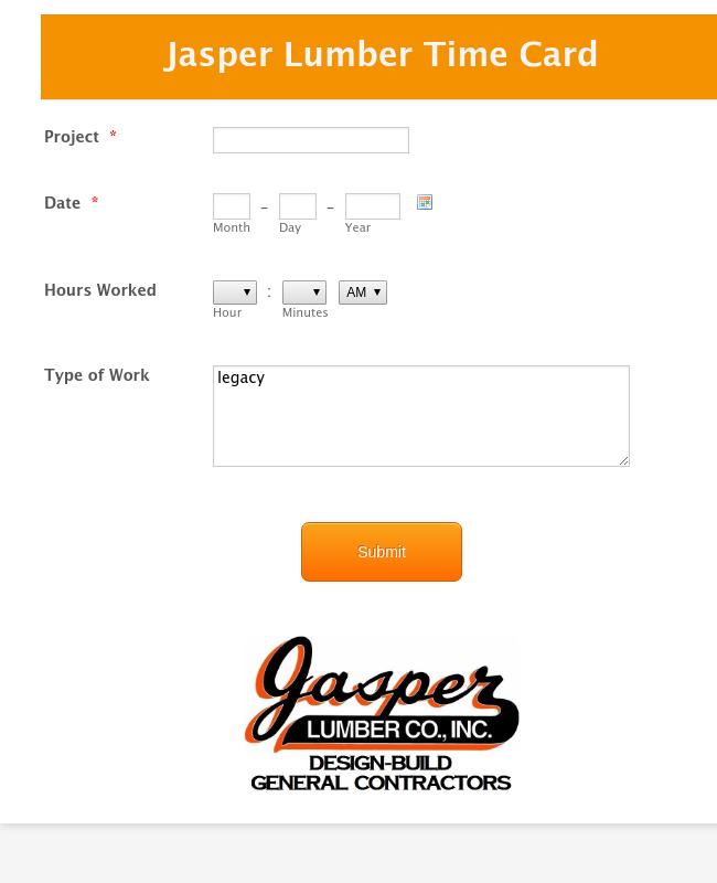 Jasper Lumber Time Card