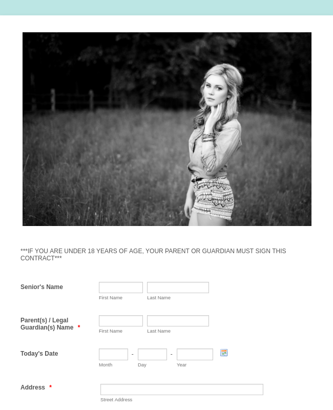 Photography Portrait Session Contract Belle Marie Photography