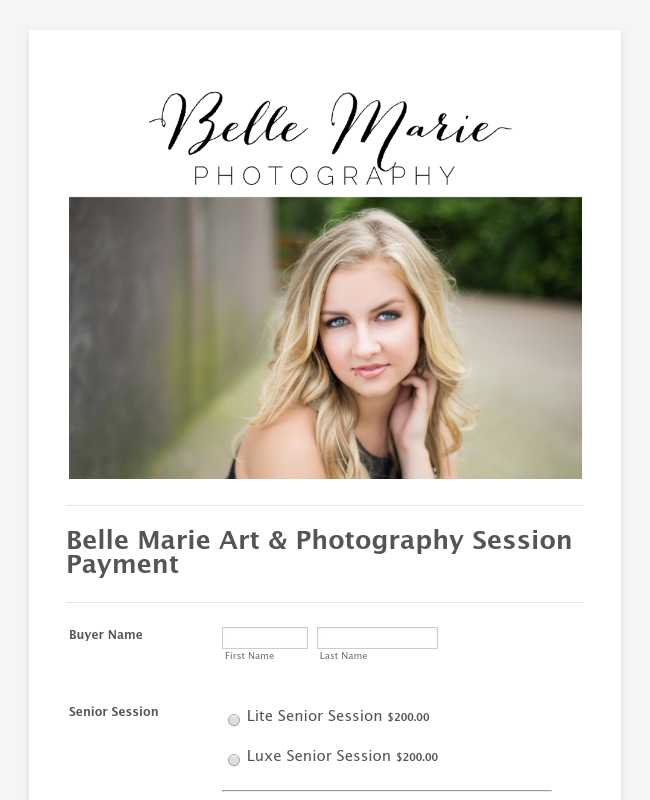 Session Payment belle marie photography