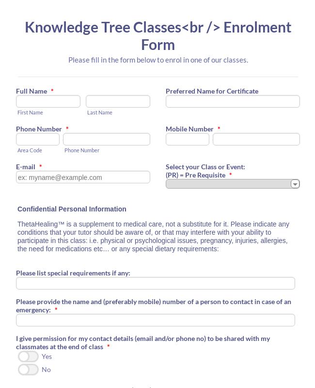 Classs Enrollment Form