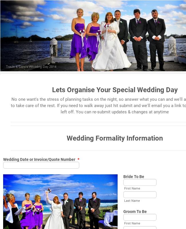 Wedding Event Organizer Form