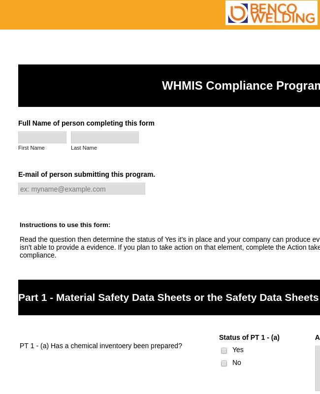WHMIS Compliance Program Checklist Form