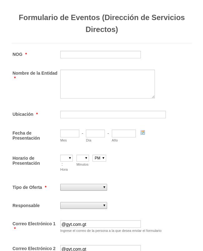 Formulario De Eventos Direccion De Servicios Directos