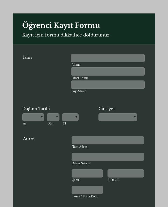 Öğrenci Kayıt Formu