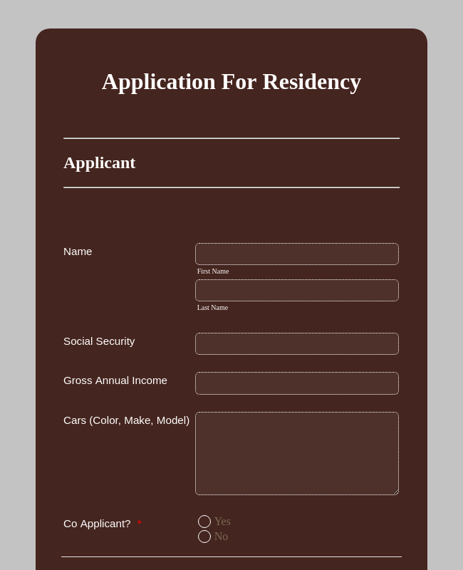 Residency Application Form
