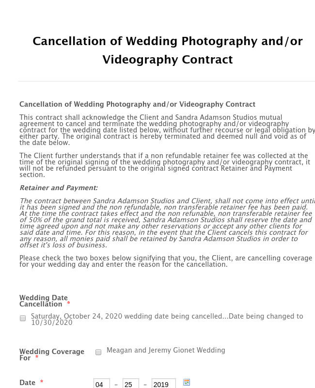 Wedding Photography Contract Cancellation