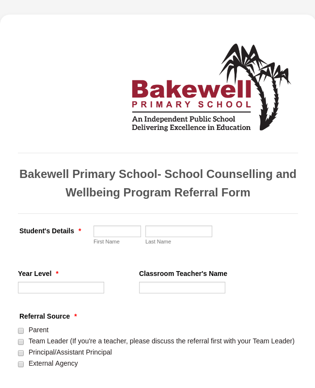School Counselling Referral Form
