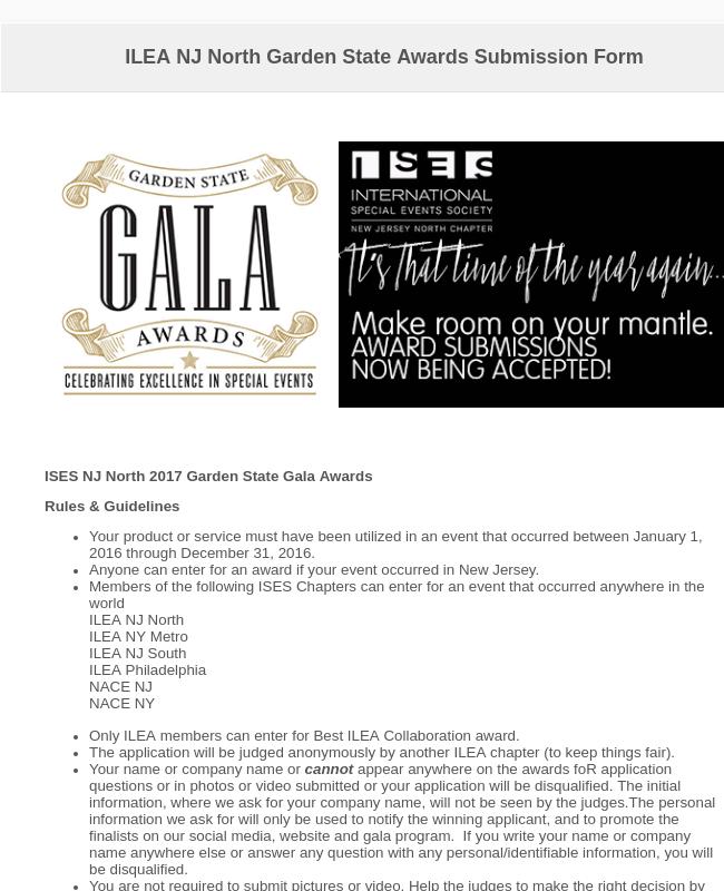 ILEA NJ North Garden State Awards Submission Form
