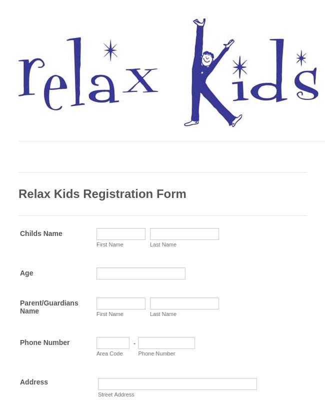 Kids School Registration Form