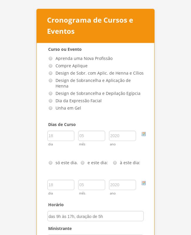 Cronograma de Cursos e Eventos