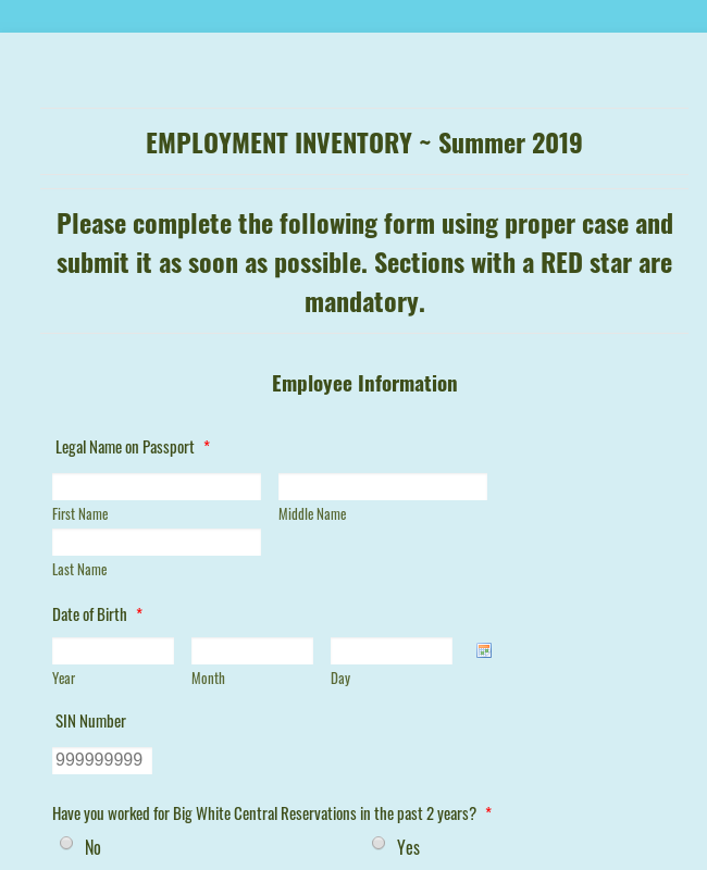 CR Employment Information