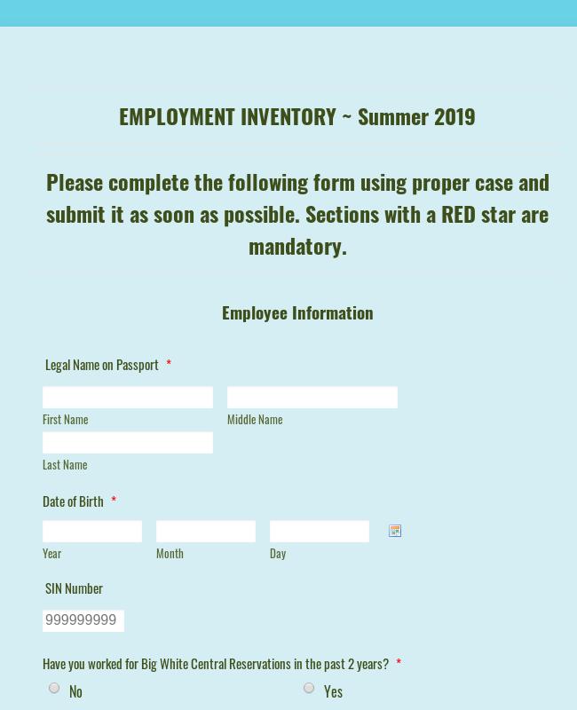 CR Employment Information