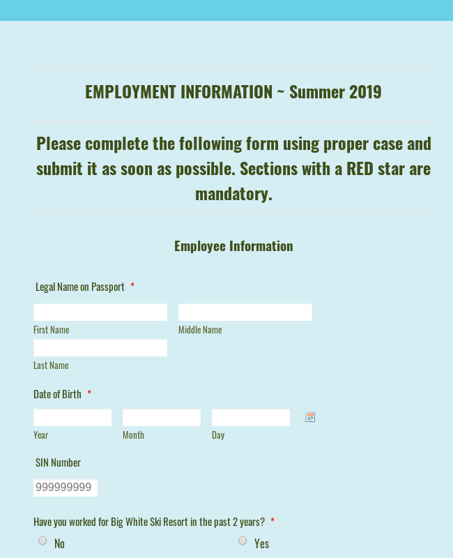 BW Employment Information