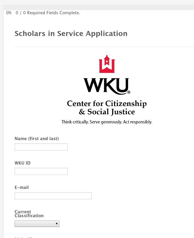 Scholars in Service Application