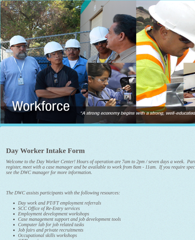 Day Worker Intake Form