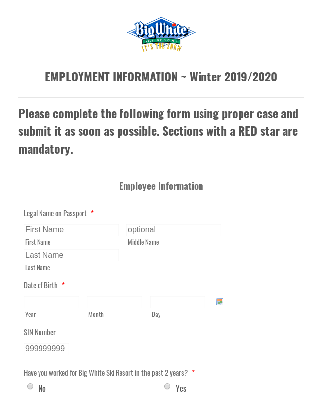 SS Employment Information