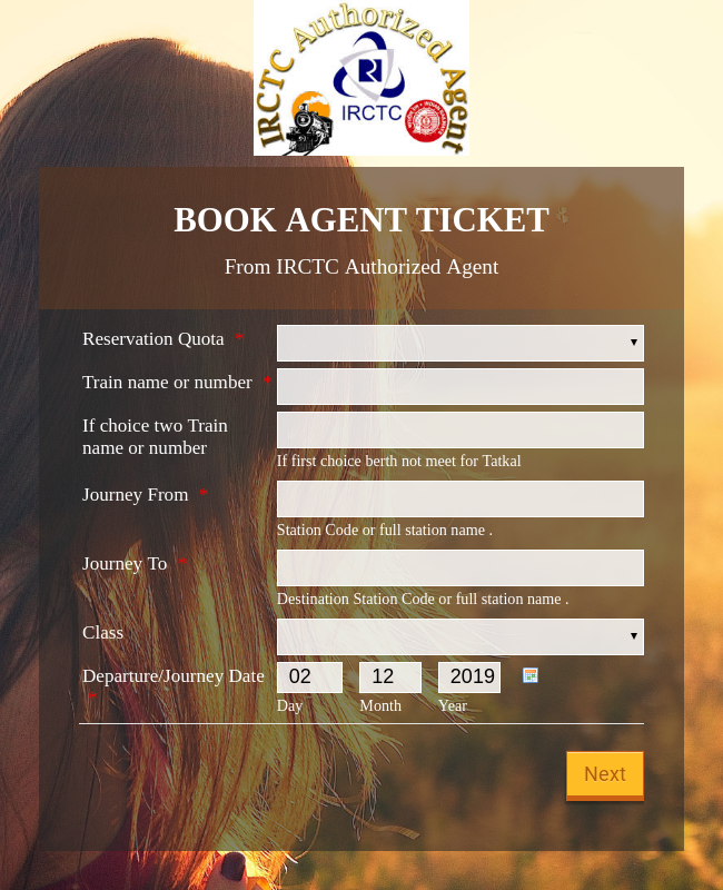 Rail Ticket Booking Form