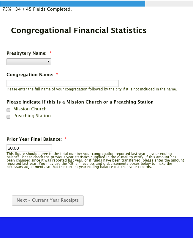 Congregational Financial Statistics