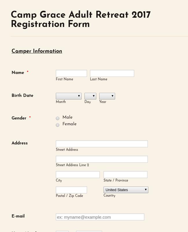 Adult Camping Registration Form