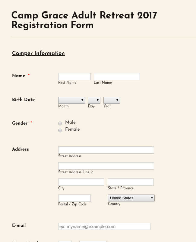 Adult Camping Registration Form