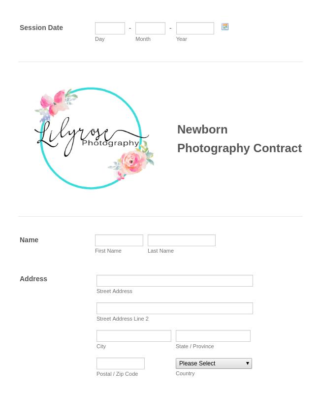 Newborn Photography Contract