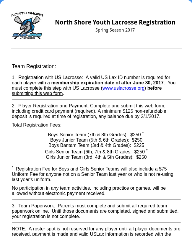 North Shore Youth Lacrosse Registration