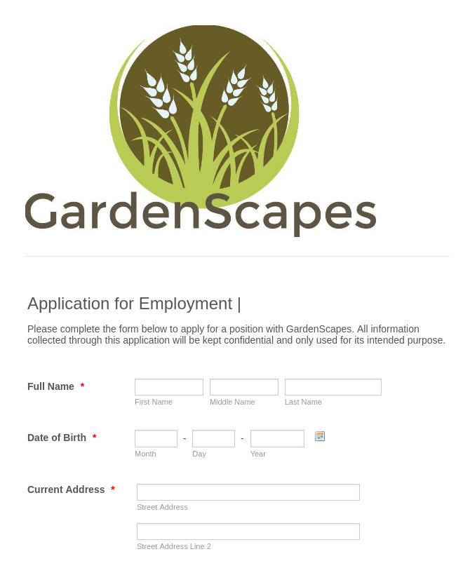Landscaping Job Application Form