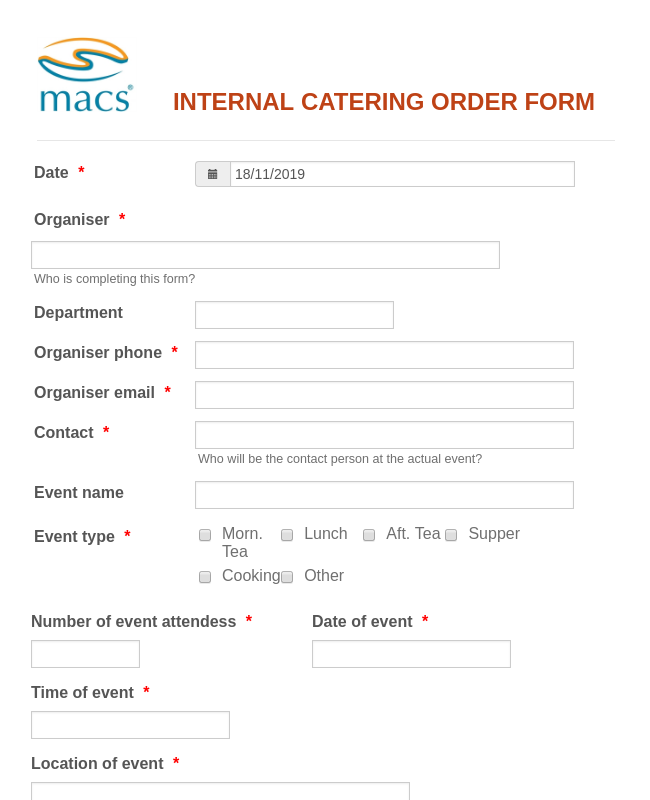 MACS CATERING ORDER FORM
