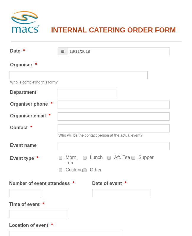 MACS CATERING ORDER FORM