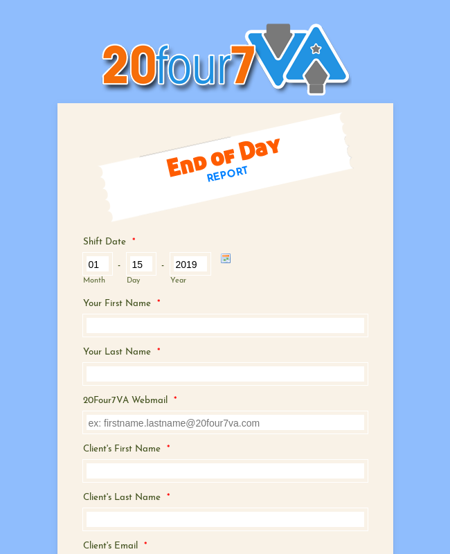 20four7va Eod Report Va S Name For Client S Name 5