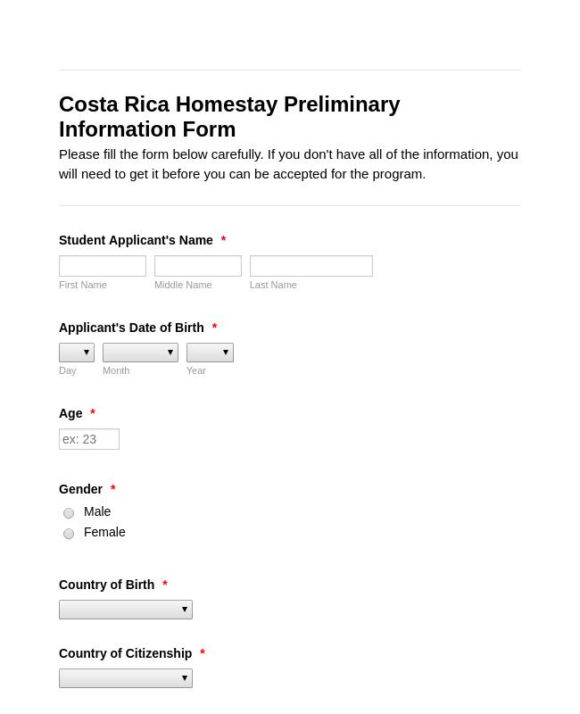 Student Exchange Application