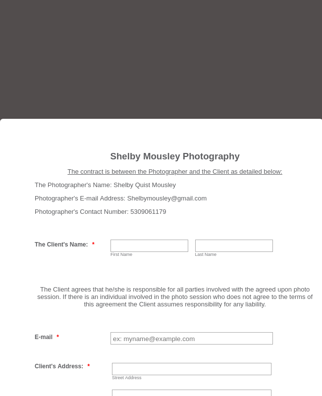 Photography Digital Contract Template