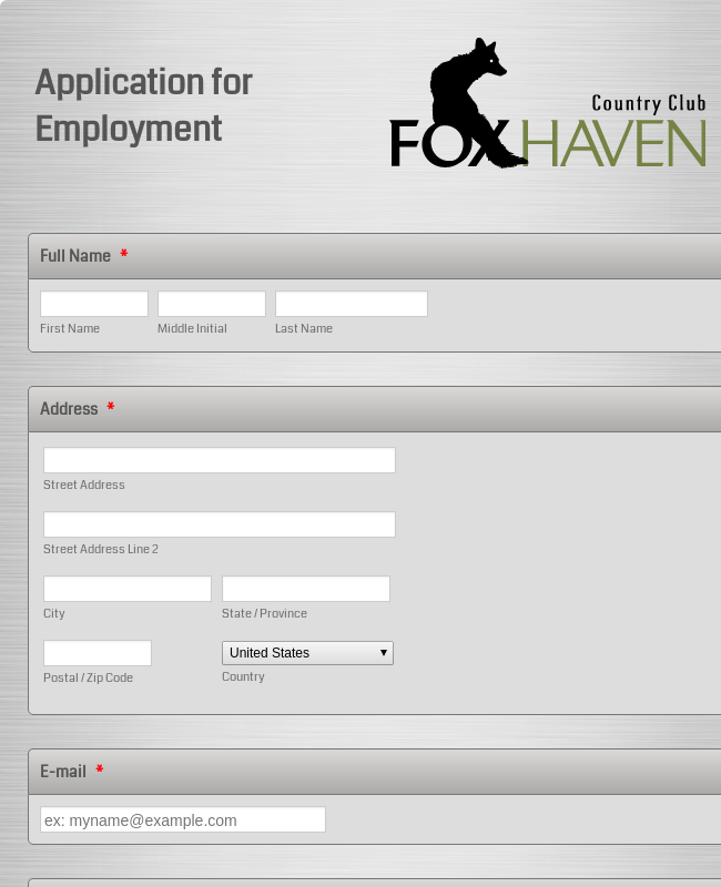 Restaurant Application Form