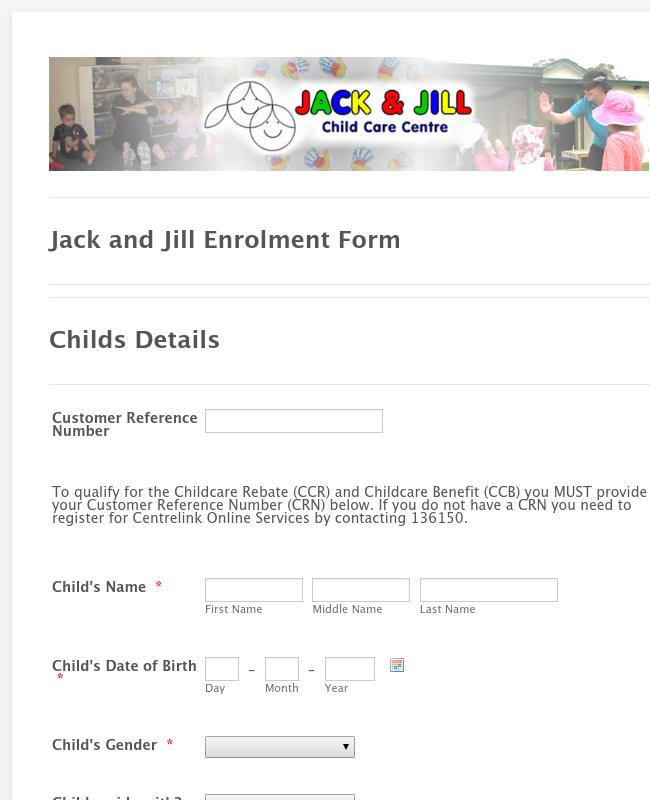 Child Care Center Enrollment Form
