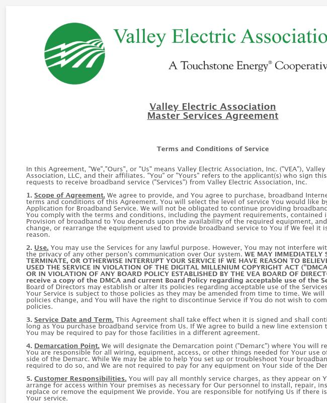 Broadband Service Agreement