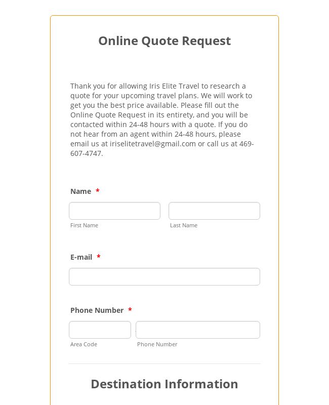 Online Quote Request