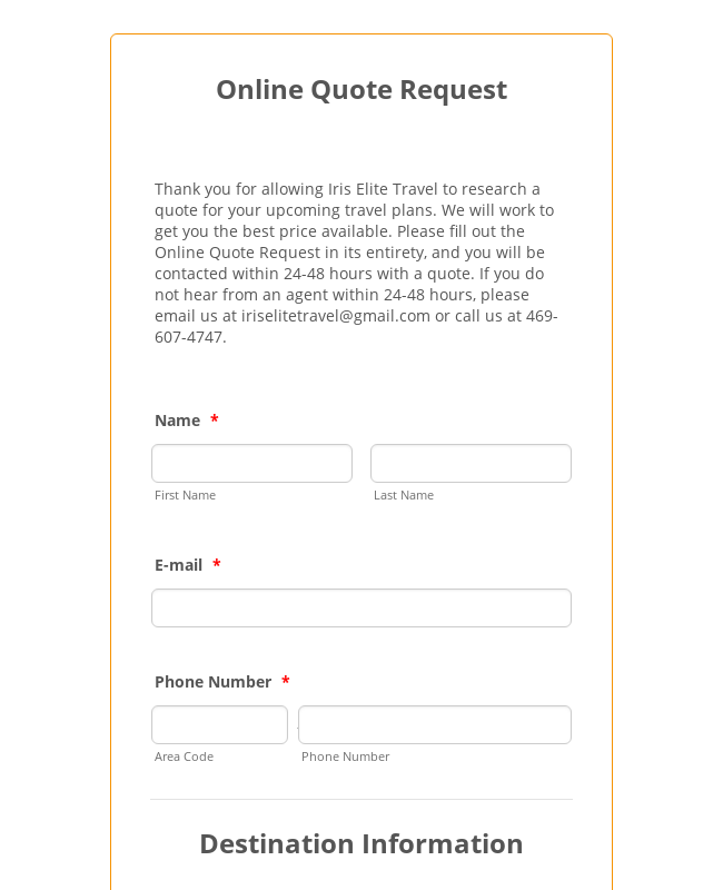 Online Quote Request
