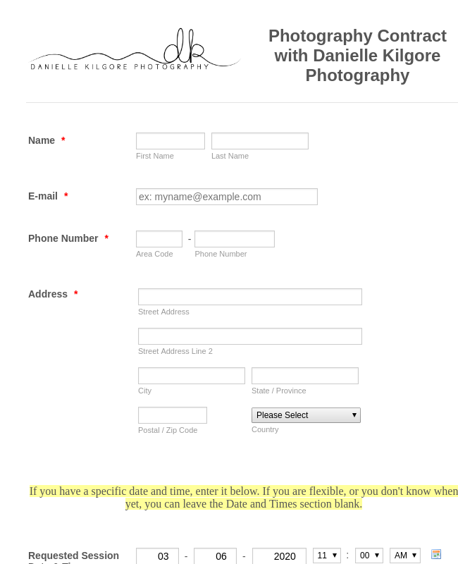 Photography Session Booking Form